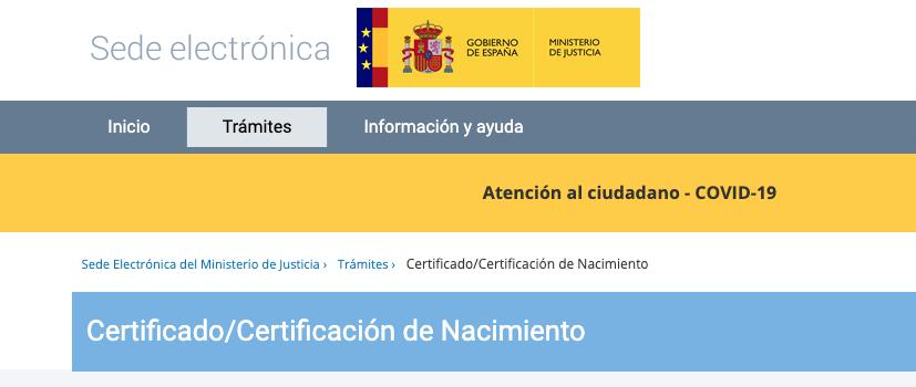 Sede electrónica del ministerio de Justicia Certificado de Nacimiento